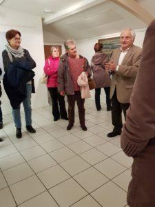 Les adhérents de la section Dessin-Peinture ont eu une visite guidée par Pierre BRANA àl'exposition Les deux rives de Mohamed AKSOUH et Christian GARDAIR le 23 novembre 2018 à 18 h 00au Chateau LESCOMBES.