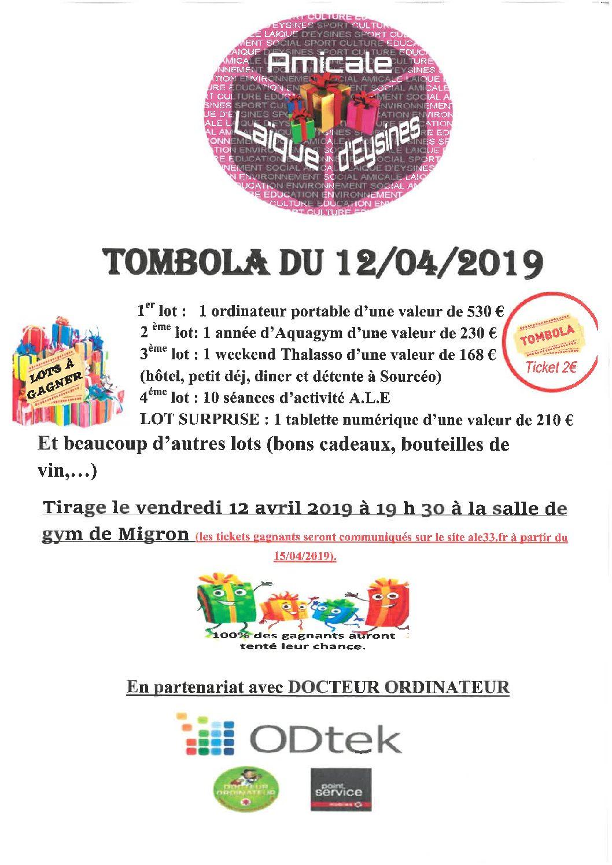TOMBOLA DU 12 AVRIL 2019